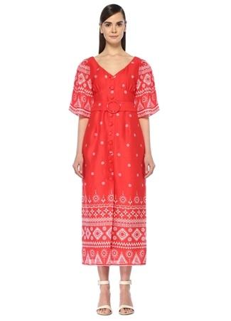 c64532405f215 S female Kırmızı Gül Hürgel Kadın V Yaka Etnik Desenli Kemerli Midi Elbise  EU