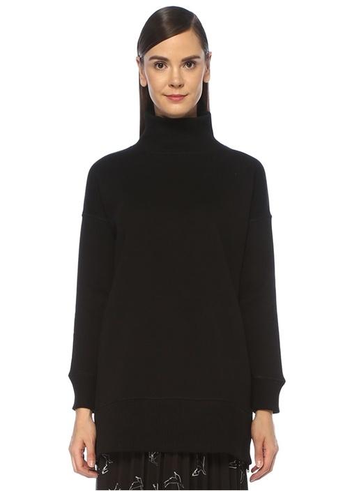 Siyah Dik Yaka Yanı Fermuarlı Tunik Sweatshirt