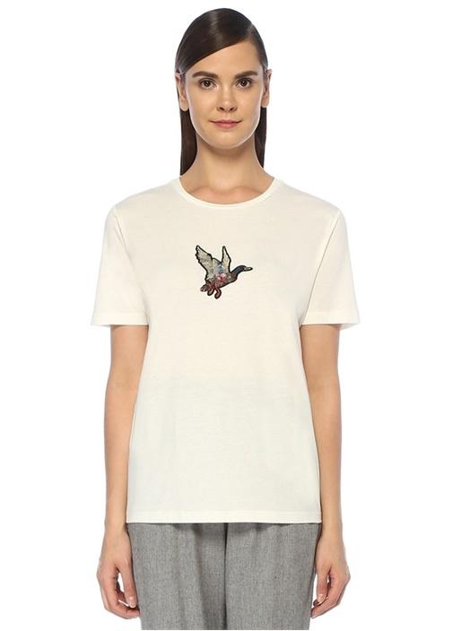 Beyaz Ördek Aplike Detaylı T-shirt