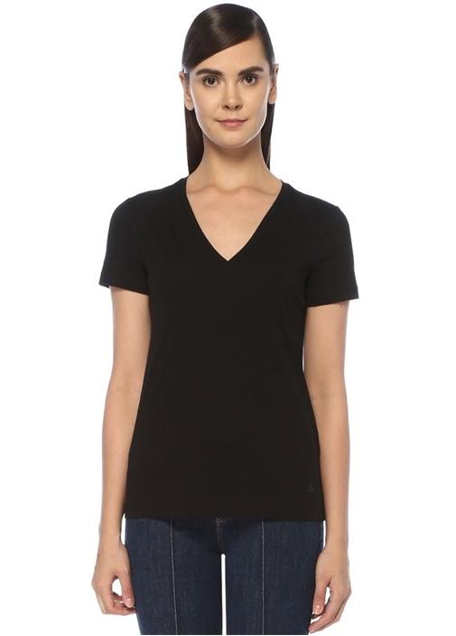 Siyah Melanj V Yaka Basic T-shirt