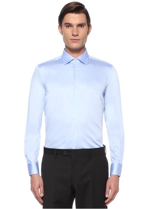 Slim Fit Mavi Klasik Yaka Saten Stretch Gömlek