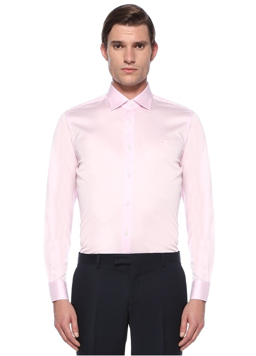 Slim Fit Pembe Modern Yaka Saten Stretch Gömlek