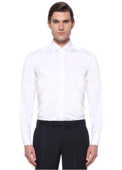 Comfort Fit Beyaz Modern Yaka Saten Stretch Gömlek