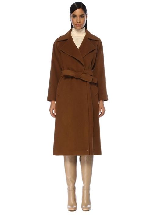 Kahverengi Beli Kuşaklı Kruvaze Yün Kaşe Palto