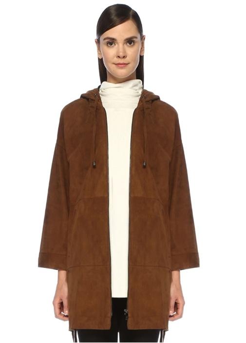 Kahverengi Kapüşonlu Kuşgözü Detaylı Süet Ceket