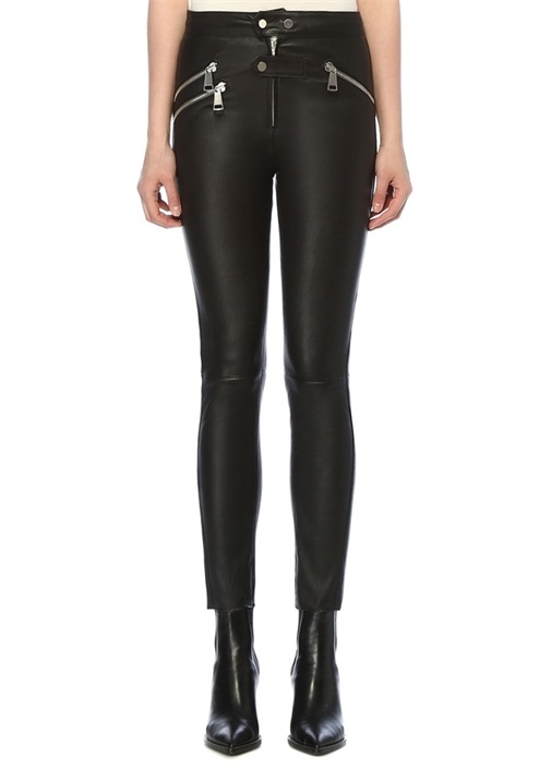 Thalia Siyah Dar Paça Deri Pantolon