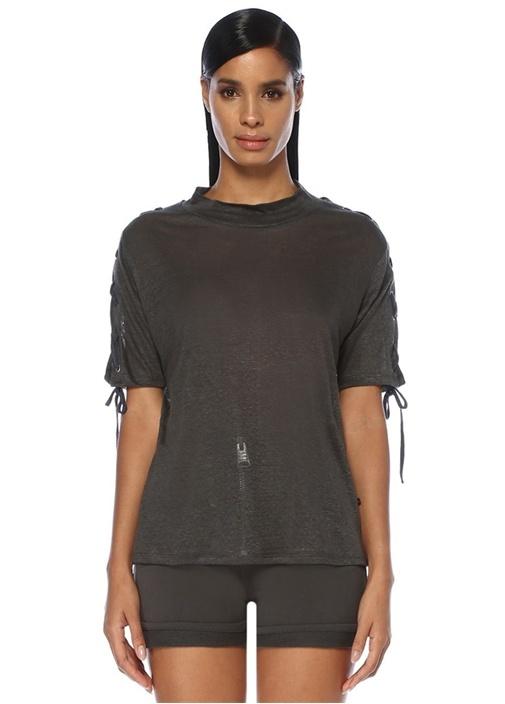 Gri Dik Yaka Kolu Bağcıklı Keten T-shirt