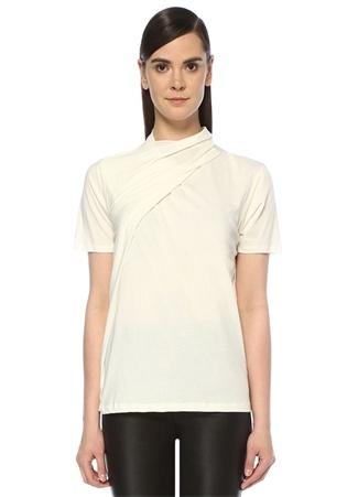 Ekru Siyah Yakası Büzgü Detaylı T-shirt