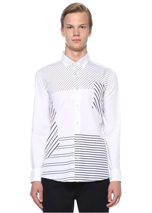 Slim Fit Düğmeli Yaka Diyagonal Çizgili Gömlek