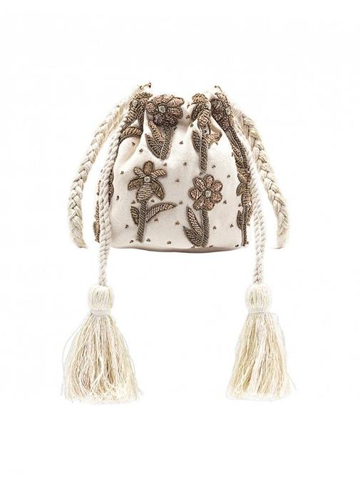Masala Beyaz Gold İşlemeli Büzgülü Kadın Çanta
