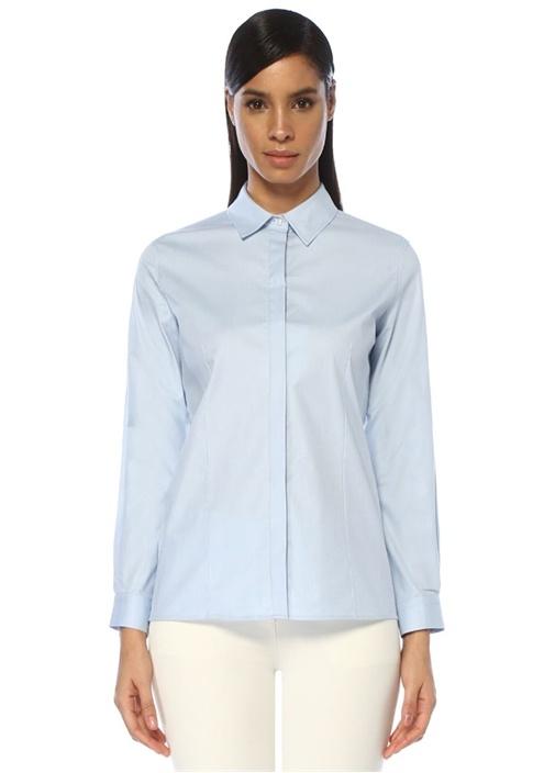 Mavi Açık Yaka Twill Gömlek