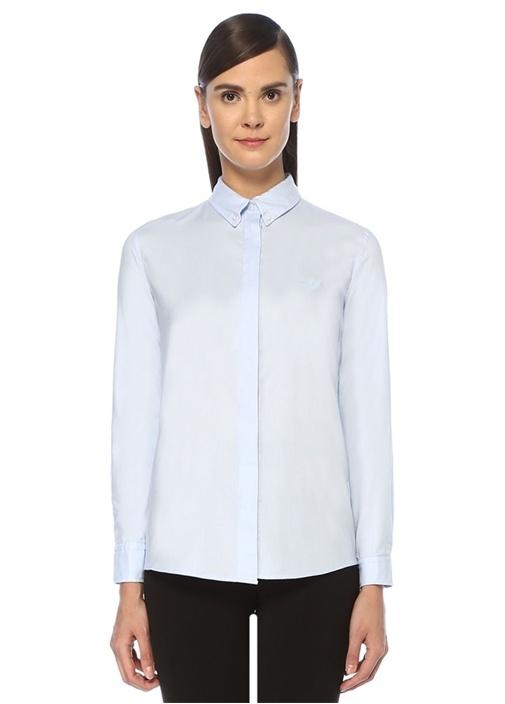 Mavi Düğmeli Yaka Logolu Gömlek