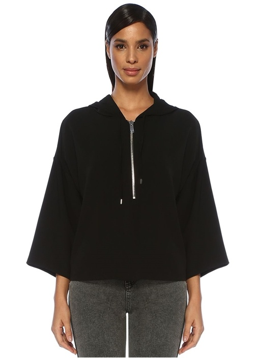 Siyah Kapüşonlu Sweat Formlu Krep Bluz