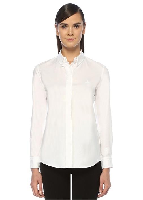 Beyaz Düğmeli Yaka Yıkamalı Oxford Gömlek