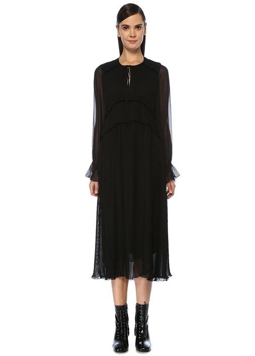 Siyah Pilili Uzun Kol Midi Şifon Bohem Elbise