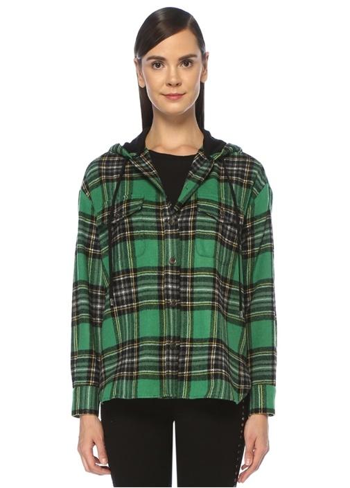 Yeşil Siyah Ekose Desenli Kapüşonlu Ceket