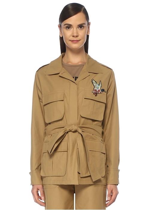 Kamel Kuş İşlemeli Beli Kuşaklı Safari Ceket
