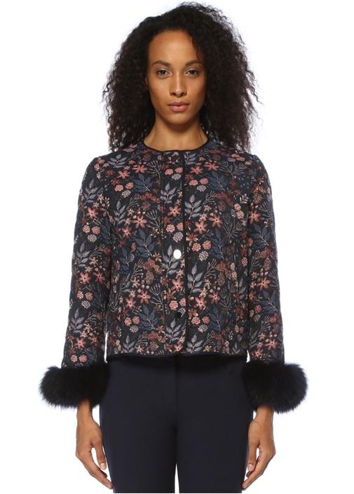 Lacivert Çiçek Desenli Peluş Detaylı Ceket