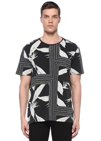 Virginia Siyah Karışık Desenli Basic T-shirt
