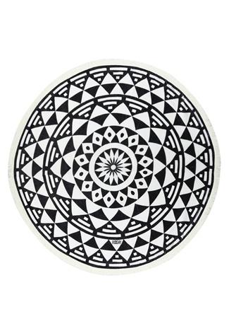 Kadın Aztec Siyah Beyaz Desenli Plaj Havlusu EU