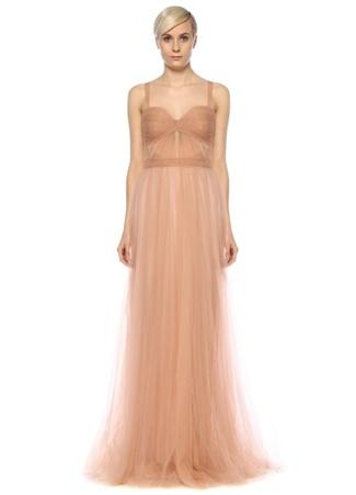 Kadın Feray Altın Rengi Kalp Yaka Maksi Tül Abiye Elbise Pembe 34 FR