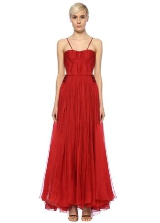 Maria Lucia Hohan Kadın Allar Kırmızı Kalp Yaka Maksi İpek Abiye Elbise 34 FR female