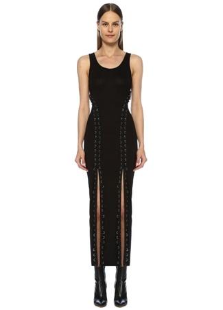 Allsaints Kadın Daner Siyah U Yaka Bağcıklı Midi Jarse Elbise XS EU