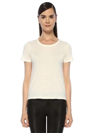 Kadın Feda Ekru Bisiklet Yaka T-shirt Beyaz XS EU