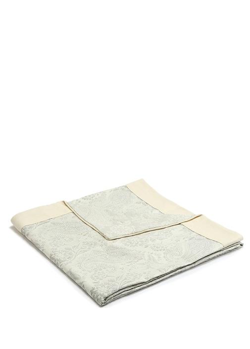 Gri Bej Garni Detaylı 270x270 cm Yatak Örtüsü