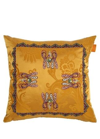 Hardal Mor Etnik Nakışlı 45x45 cm Dekoratif Yastık Sarı