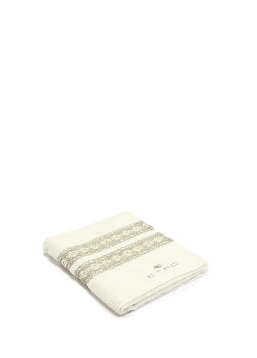 Beyaz Güpür Şeritli Dokulu Havlu