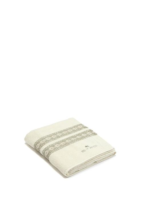 Beyaz Güpür Şeritli Dokulu Banyo Havlusu