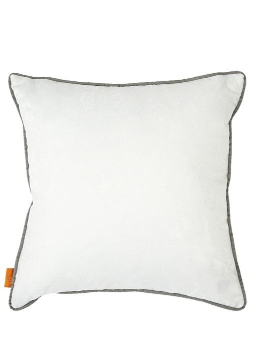 Beyaz Etnik Desenli 45x45 cm Dekoratif Yastık