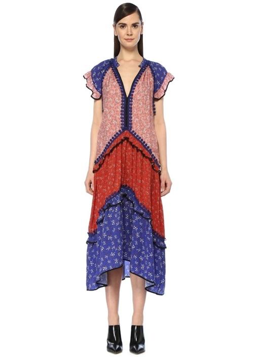 Lugvonsıga Peggy V Yaka Colorblock Çiçekli Midi Elbise – 3099.0 TL