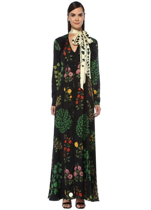 Siyah Yakası Fularlı Çiçekli Maksi İpek Elbise