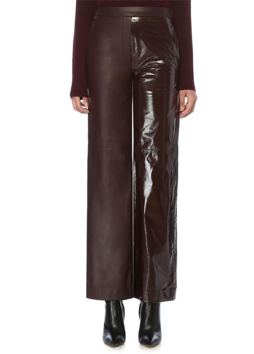 Bordo Yüksek Bel Boru Paça Deri Pantolon