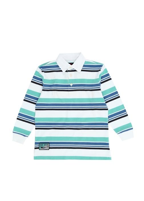 Mavi Beyaz Çizgili Polo Yaka Unisex Çocuk T-shirt