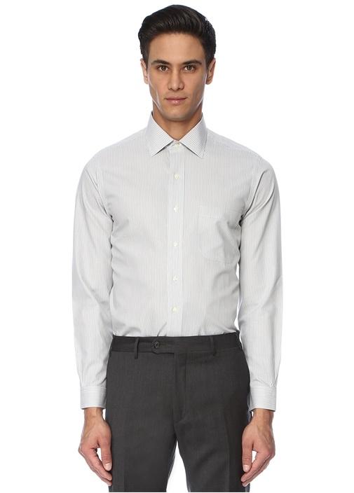 Gri Çizgili İngiliz Yaka Gömlek