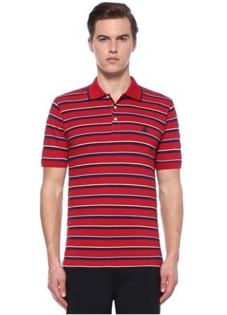 Slim Fit Kırmızı Çizgili Polo Yaka T-shirt