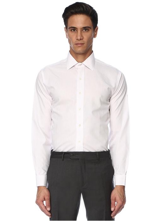 Beyaz Pembe Çizgili İngiliz Yaka Gömlek
