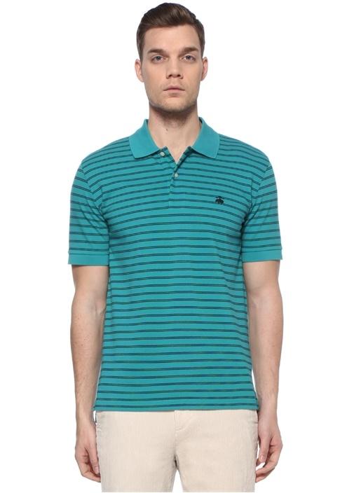 Yeşil Polo Yaka Çizgili T-shirt