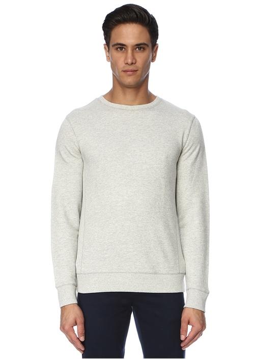 Gri Rib Detaylı Sweatshirt