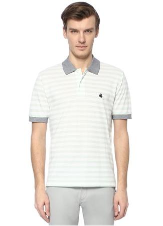 Slim Fit Beyaz Yeşil Çizgili Pike Dokulu T-shirt