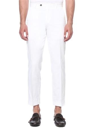 Beyaz Normal Bel Boru Dokulu Boru Paça Pantolon