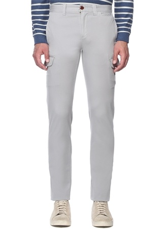 Gri Normal Bel Cep Detaylı Kanvas Pantolon