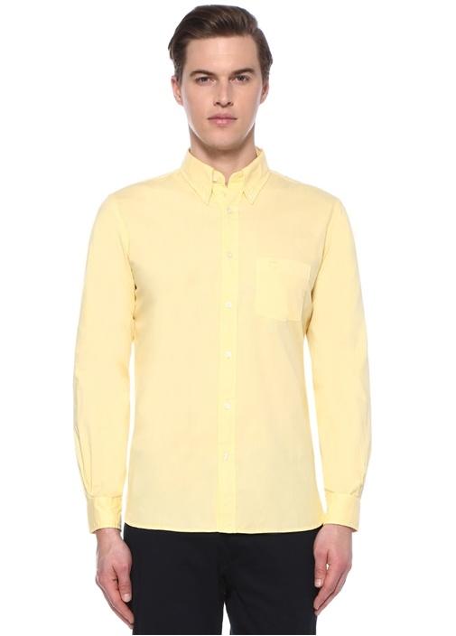 Sarı Düğmeli Yaka Gömlek