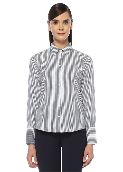 Mavi Beyaz İngiliz Yaka Çizgili Gömlek