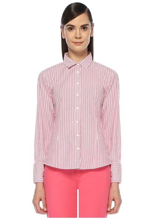 Pembe İngiliz Yaka Çizgi Desenli Gömlek