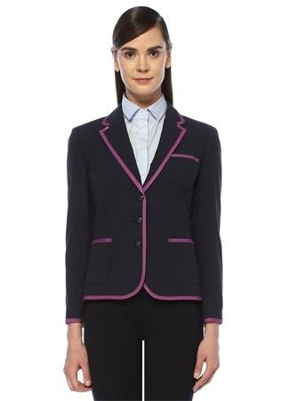 Brooks Brothers Kadın Lacivert Kelebek Yaka Kontrast Biyeli Ceket 8 US