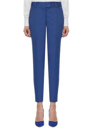 Brooks Brothers Kadın Natalie Fit Mavi Dar Paça Streç Pantolon 4 US